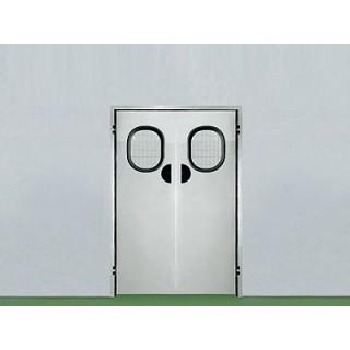 Двери маятниковые из нержавеющей стали
